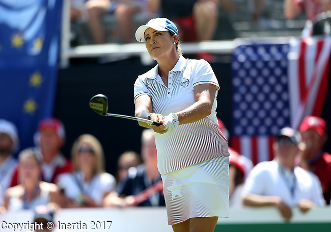 DES MOINES, IA - AUGUST 19: USA's Cristi Kerr watches her tee shot on the 1st hole of their afternoon four-ball match Saturday at the 2017 Solheim Cup in Des Moines, IA. (Photo by Dave Eggen/Inertia)