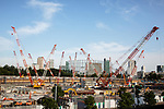 July 3, 2017, Tokyo, Japan - A picture taken on May 29, 2017 shows cranes at the construction site of the new National Stadium for the Tokyo 2020 Olympics and Paralympics. According to the Bank of Japan's tankan report, confidence among the nation's largest manufacturers has risen for the third straight quarter to the greatest level in more than three years. The report showed a reading of 17 among major manufacturers which is the highest since the first quarter of 2014. (Photo by AFLO)