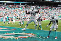 Miami Dolphins Bobby MCCain Celebrates Touchdown against the CLeveland Browns  on the 25th September 2016 at  the Hard Rock Stadium Miami Florida