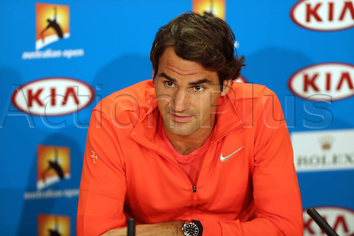 11.01.2014. Sydney, Australia. Australian Open Tennis Championships. World Tour, Grand Slam, Australian Open Roger Federer of Switzerland reacts during the news conference ahead of the Australian Open tennis tournament in Melbourne, Australia, Jan. 11, 2014.