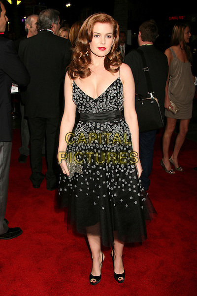 "ISLA FISHER .""The Lookout"" Los Angeles Premiere at Grauman's Egyptian Theatre, Hollywood, California, USA..March 20th, 2007.full length black dress silver clutch purse pee toe shoes polka dot pattern .CAP/ADM/BP.©Byron Purvis/AdMedia/Capital Pictures"