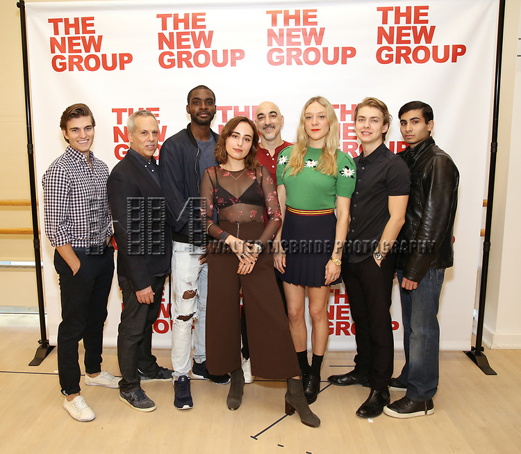 Daniel Sovich, Josh Pais, Moise Morancy, Sadie Scott, Seth Zvi Rosenfeld, Chloe Sevigny, David Levi, Cristian DeMeo attends the cast photo call for the New Group Production on 'Downtown Race Riot' on October 23, 2017 at The New 42nd Street Studios in New York City.