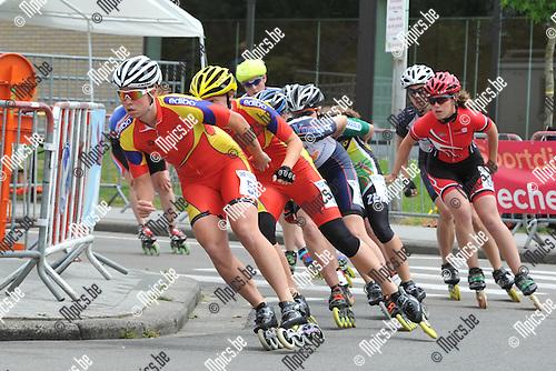 2012-06-02 / Skeeleren / BK Mechelen / Dames / Nele Armée leidt het peleton op weg naar de titel in het Belgisch Kampioenschap bij de dames.
