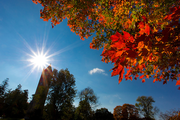 Fall colors bloom near the Campanile on the campus of Iowa State University in Ames, Iowa. (Christopher Gannon/Gannon Visuals)