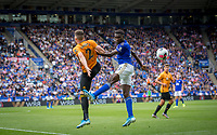 Wilfred Ndidi of Leicester City and Matt Doherty of Wolves during the Premier League match between Leicester City and Wolverhampton Wanderers at the King Power Stadium, Leicester, England on 10 August 2019. Photo by Andy Rowland.