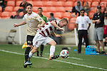 HOUSTON, TX - DECEMBER 11:  Derek Waldeck (29) of Stanford University is pushed from behind by Luis Argudo (2) of Wake forest University during the Division I Men's Soccer Championship held at the BBVA Compass Stadium on December 11, 2016 in Houston, Texas.  Stanford defeated Wake Forest 1-0 in a penalty shootout for the national title. (Photo by Justin Tafoya/NCAA Photos via Getty Images)
