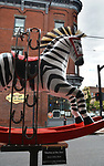 """A view of, """"Deebra at the Zoo,"""" by artist, Debra Ricks,one of the 35 Artist painted Rocking Horses on display around Saugerties, NY as part of the Chamber of Commerce sponsored Art in the Village Project titled """"Rockin' Around Saugerties."""" This photo taken on Friday, May 26, 2017. Photo by Jim Peppler. Copyright/Jim Peppler-2017."""