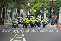 Peoples March for the NHS - Central London, Saturday 6th Sept 2014 - <br /> <br /> Police patrols prepare for the rally to enter The Strand in Central London. <br /> <br /> <br /> <br /> <br /> Photographer: Jeff Thomas - Jeff Thomas Photography - 07837 386244/07837 216676 - www.jaypics.photoshelter.com - swansea1001@hotmail.co.uk