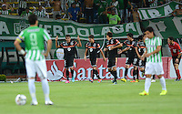MEDELLIN- COLOMBIA - 10-09-2014: Los Jugadores de General Diaz de Paraguay celebran el gol anotado a Atletico Nacional de Colombia durante partido de ida de la segunda fase, llave16, de la Copa Total Suramericana entre Atletico Nacional de Colombia y General Diaz de Paraguay en el estadio Atanasio Girardot del ciudad de Medellin.  / The players of General Diaz of Paraguay celebrate a goal scored to Atletico Nacional de Colombia during a match for the first leg of the second phase, key16, between Atletico Nacional de Colombia y General Diaz de Paraguay of the Copa Total Suramericana in the Atanasio Girardot  stadium, in Medellin city. Photo: VizzorImage / Luis Rios / Str.