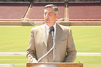 22 August 2006: Members of the media gather at a press conference at the new Stanford Stadium in Stanford, CA to introduce new concessions menus and provide a sneak peak at the venue. The Jaquish and Kenninger Director of Athletics Bob Bowlsby addresses the media.