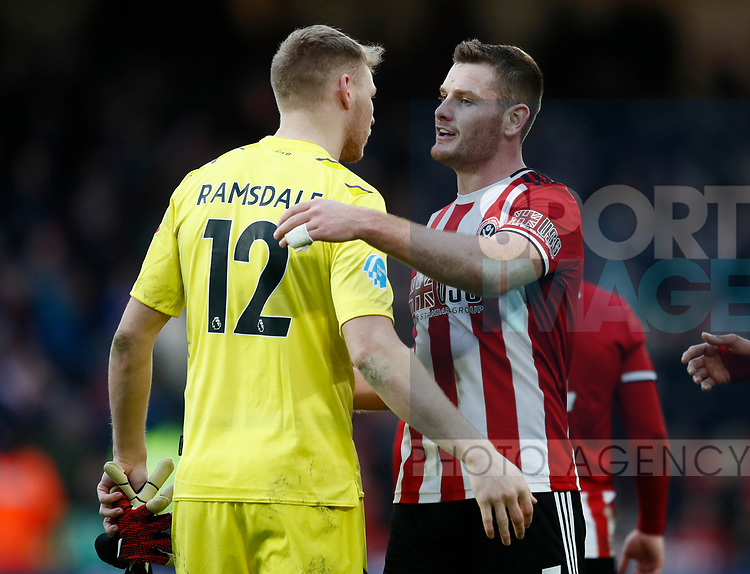 Jack O'Connell of Sheffield Utd consoles Aaron Ramsdale of Bournemouth during the Premier League match at Bramall Lane, Sheffield. Picture date: 9th February 2020. Picture credit should read: Simon Bellis/Sportimage