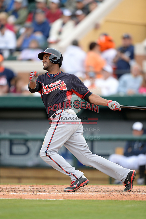 Atlanta Braves infielder Edward Salcedo (85) during a spring training game against the Detroit Tigers on February 27, 2014 at Joker Marchant Stadium in Lakeland, Florida.  Detroit defeated Atlanta 5-2.  (Mike Janes/Four Seam Images)