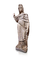Roman statue of Julia Domina . Marble. Perge. 2nd century AD. Inv no 3268. Antalya Archaeology Museum; Turkey. Against a white background.<br /> <br /> Julia Domna (AD 160–217) was a Roman empress , the second wife of Septimius Severus (reigned 193–211).
