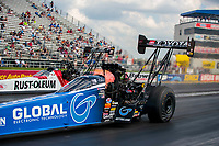 Jul 18, 2020; Clermont, Indiana, USA; NHRA top fuel driver Tony Schumacher (near) alongside T.J. Zizzo during qualifying for the Summernationals at Lucas Oil Raceway. Mandatory Credit: Mark J. Rebilas-USA TODAY Sports