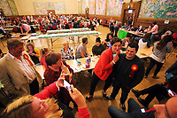 Pictured: Labour candidate for Gower constituency Tonia Antoniazzi poses for a picture before her win was announced.  Friday 09 June 2017<br />Re: Counting of ballots at Brangwyn Hall for the general election in Swansea, Wales, UK