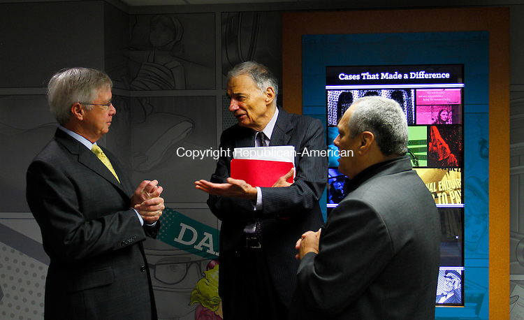 WINSTED, CT - 26 SEPTEMBER 2015 - 092615JW13.jpg -- Ralph Nader talks with attorney James E. Butler Jr., and museum consultant Bill Koldys during the opening of the American Museum of Tort Law Saturday morning. Jonathan Wilcox Republican-American