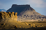Factory Butte, mesa with jumbled boulders, San Rafael Desert, Utah.