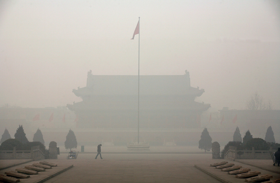 """A temple is shrouded in a polluted haze in China's """"most polluted city"""" of Linfen in Shanxi province."""