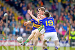 Donnchadh Walsh, Kerry in action against Connor Sweeney and  Shane Leahy, Tipperary in the first round of the Munster Football Championship at Fitzgerald Stadium on Sunday.