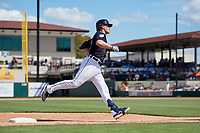 Detroit Tigers third baseman Brandon Dixon (12) rounds third base after hitting a home run in the bottom of the third inning during a Grapefruit League Spring Training game against the Atlanta Braves on March 2, 2019 at Publix Field at Joker Marchant Stadium in Lakeland, Florida.  Tigers defeated the Braves 7-4.  (Mike Janes/Four Seam Images)