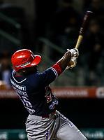 Randy Arozarena de los mayos , durante el juego de beisbol de la Liga Mexicana del Pacifico temporada 2017 2018. Cuarto juego de la serie de playoffs entre Mayos de Navojoa vs Naranjeros. 05Enero2018. (Foto: Luis Gutierrez /NortePhoto.com)