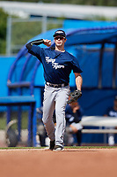 Lakeland Flying Tigers third baseman Zac Shepherd (35) throws to first base during a game against the Dunedin Blue Jays on May 27, 2018 at Dunedin Stadium in Dunedin, Florida.  Lakeland defeated Dunedin 2-1.  (Mike Janes/Four Seam Images)