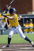 Michigan Wolverines shortstop Michael Brdar (9) at bat against the Illinois Fighting Illini during the NCAA baseball game on April 8, 2017 at Ray Fisher Stadium in Ann Arbor, Michigan. Michigan defeated Illinois 7-0. (Andrew Woolley/Four Seam Images)