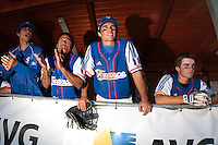 20 August 2010: Eloi Secleppe, Gary Garcia Martinez, Andy Pitcher, Simon Vicente are seen in the dugout during France 6-5 win over Italy, at the 2010 European Championship, under 21, in Brno, Czech Republic.