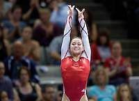 Sarah Finnegan of GAGE competes on the vault during 2012 US Olympic Trials Gymnastics Finals at HP Pavilion in San Jose, California on July 1st, 2012.