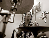 "Drummer with the ""Edge of Chaos Orchestra"" recording at the Blue Coconut Club, Pulborough, West Sussex."