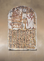 Ancient Egyptian Stele of Amenemope dedicated to Amenhotep I and Ahmose-Nefertari, limestone, New Kingdom, 19th Dynasty, (1279-1213 BC), Deir el-Medina, Drovetti cat 1452. Egyptian Museum, Turin.