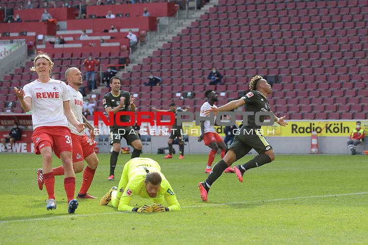 nph00351: Torjubel Pierre KUNDE (1.FSV Mainz 05) <br /> nach  Tor zum 2-2.<br /> Am Boden:Timo HORN  (Torwart 1.FC Koeln),<br /> Li:Toni LEISTNER (1.FC Koeln),<br /> Sebastian BORNAUW  (1.FC Koeln)<br /> Sport: Fussball: 1. Bundesliga: Saison 19/20: 26.Spieltag: 1.FC KOELN-FSV MAINZ 05,17.05.2020.<br /> Foto: Anke Waelischmiller/SVEN SIMON/POOL / via Meuter/nordphoto<br /> <br /> Nur für journalistische Zwecke! Only for editorial use!<br /> Gemäß den Vorgaben der DFL Deutsche Fußball Liga ist es untersagt, in dem Stadion und/oder vom Spiel angefertigte Fotoaufnahmen in Form von Sequenzbildern und/oder videoähnlichen Fotostrecken zu verwerten bzw. verwerten zu lassen. DFL regulations prohibit any use of photographs as image sequences and/or quasi-video.
