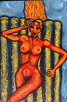 """Girl in Pool. Acrylic on Board. 32"""" X  48"""".  Painted about 1989."""