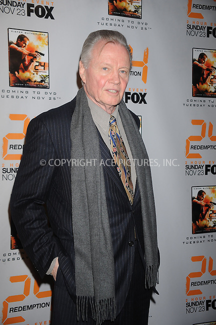 WWW.ACEPIXS.COM . . . . . ....November 19 2008, New York City....Actor Jon Voight at the world premiere screening of '24: Redemption' at AMC Theaters on November 19, 2008 in New York City.....Please byline: KRISTIN CALLAHAN - ACEPIXS.COM.. . . . . . ..Ace Pictures, Inc:  ..(646) 769 0430..e-mail: info@acepixs.com..web: http://www.acepixs.com