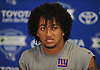 Evan Engram of the New York Giants speaks with the media after a day of training camp at Quest Diagnostics Training Center in East Rutherford, NJ on Friday, Aug. 3, 2018.