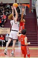 Westside Eagle Observer/RANDY MOLL<br /> Gentry senior Casey Bates puts up a shot under the basket during play against Farmington High School in Gentry on Jan. 14.