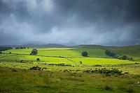 Dark cloud over Dartmoor panoramic landscape in Devon county, England