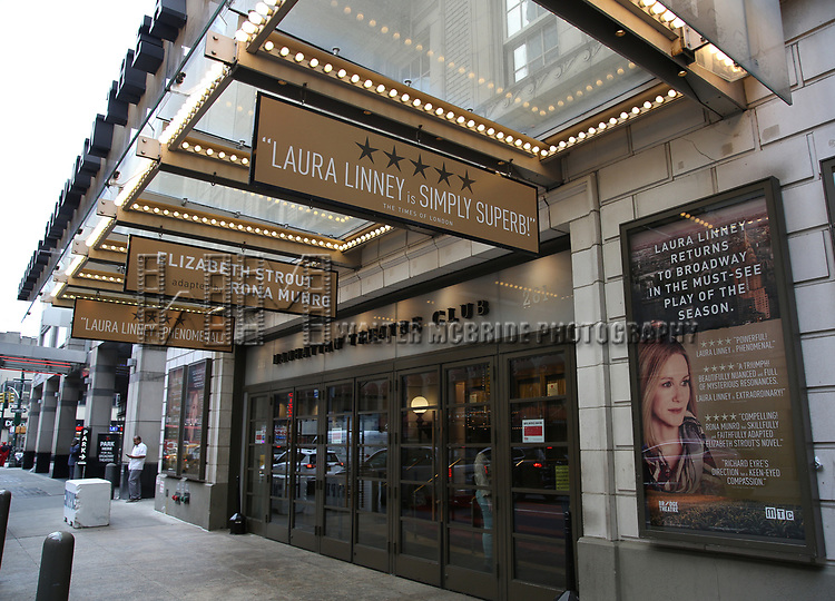 "Theatre Marquee for Laura Linney returning to Broadway in a haunting new solo play, ""My Name Is Lucy Barton"", adapted by Rona Munro from the bestselling novel by Pulitzer Prize winner Elizabeth Strout at the Samuel J. Friedman Theatre on January 13, 2019 in New York City."