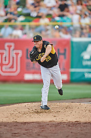 Greg Mahle (28) of the Salt Lake Bees during the game against the Memphis Redbirds at Smith's Ballpark on July 24, 2018 in Salt Lake City, Utah. Memphis defeated Salt Lake 14-4. (Stephen Smith/Four Seam Images)