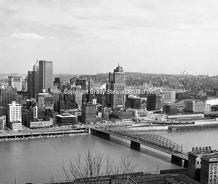 Pittsburgh PA:  View of Pittsburgh and the Smithfield Street Bridge from Mount Washington - 1962