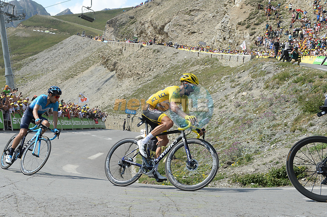 Yellow Jersey Julian Alaphilippe (FRA) Deceuninck-Quick Step climbs his way to 2nd place atop the Col du Tourmalet near the end of Stage 14 of the 2019 Tour de France running 117.5km from Tarbes to Tourmalet Bareges, France. 20th July 2019.<br /> Picture: Colin Flockton | Cyclefile<br /> All photos usage must carry mandatory copyright credit (© Cyclefile | Colin Flockton)
