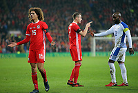 (L-R) Ethan Ampadu of Wales protests to the lines man while Chris Gunter of Wales argues with Felipe Baloy of Panama during the international friendly soccer match between Wales and Panama at Cardiff City Stadium, Cardiff, Wales, UK. Tuesday 14 November 2017.