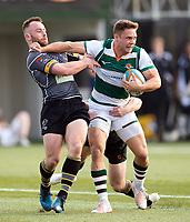 David Johnston of Ealing Trailfinders takes on the Nottingham defence. Greene King IPA Championship match, between Ealing Trailfinders and Nottingham on March 30, 2019 at the Trailfinders Sports Ground in London, England. Photo by: Patrick Khachfe / Onside Images