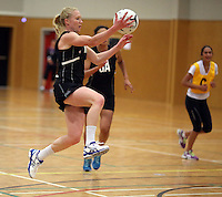 26.10.2013 Silver Fern Laura Langman in action during the Silver Ferns trainig ahead of the second test match against Malawi in Napier. Mandatory Photo Credit ©Michael Bradley.