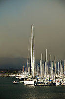 Santa Barbara, California - Smoke from Jesusita fire drifts across Santa Barbara as seen from Harbor. Wednesday May 6, 2009