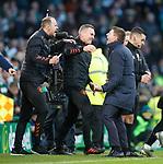 29.12.2019 Celtic v Rangers: Steven Gerrard celebrates at full time with Tom Culshaw and Jordan Milson
