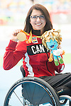 RIO DE JANEIRO - 10/9/2016:  Michelle Stilwell receives her gold medal for the Women's 400m - T52 in the Olympic Stadium during the Rio 2016 Paralympic Games. (Photo by Matthew Murnaghan/Canadian Paralympic Committee