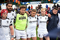 Bristol Bears huddle together after the match. Gallagher Premiership match, between Leicester Tigers and Bristol Bears on April 27, 2019 at Welford Road in Leicester, England. Photo by: Patrick Khachfe / JMP