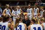 GRAND RAPIDS, MI - MARCH 18: Head coach G.P. Gromacki of Amherst College speaks with his players during the Division III Women's Basketball Championship held at Van Noord Arena on March 18, 2017 in Grand Rapids, Michigan. Amherst College defeated Tufts University 52-29 for the national title. (Photo by Brady Kenniston/NCAA Photos via Getty Images)