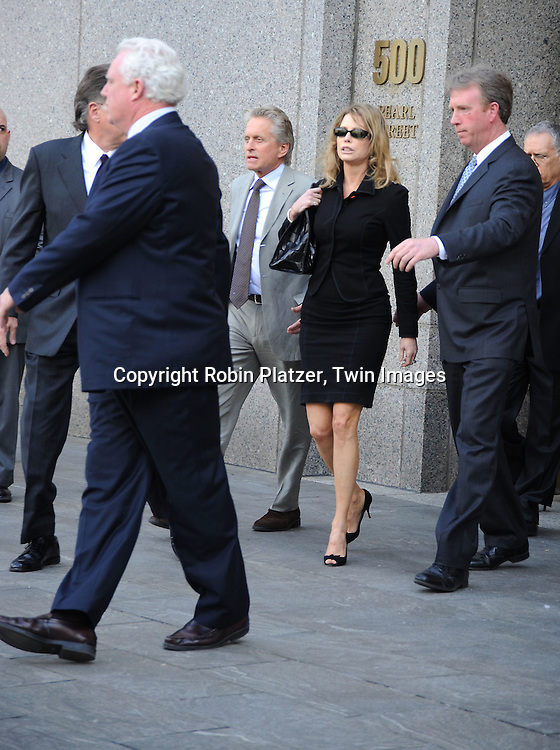 Michael Douglas and ex wife Diandra Douglas leaving the sentencing for their son Cameron Douglas in New York City on April 20, 2010 at United States District Court.